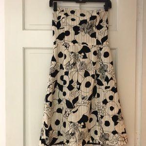 Helen Wang strapless cotton graphic dress sz 2